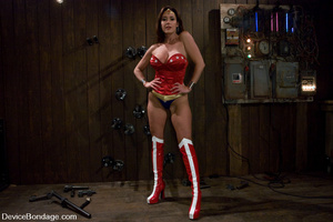 Cute babe in superhero outfit gets gagge - XXX Dessert - Picture 2