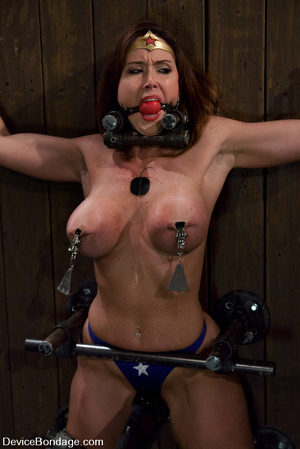 Cute babe in superhero outfit gets gagge - XXX Dessert - Picture 8