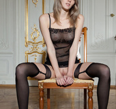 Adorable young cutie loves luxury and sexy black lingerie
