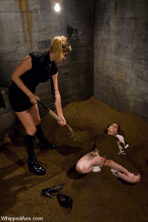 Nude girl buried with dirt, spanked, bou - XXX Dessert - Picture 3