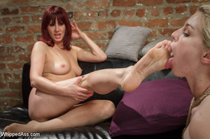 Redhead spanks blonde's butt hard and ra - XXX Dessert - Picture 7