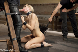 Sexy blonde in collar dominated by guy s - XXX Dessert - Picture 1