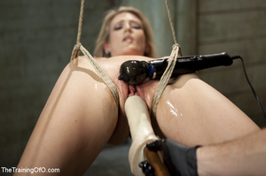 Roped blonde gets pegged, sucks cock and - XXX Dessert - Picture 3