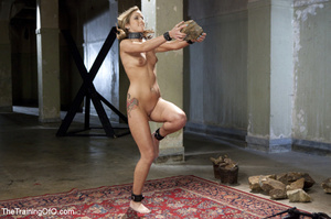 Slave chick made to lift stone, squat, d - XXX Dessert - Picture 2