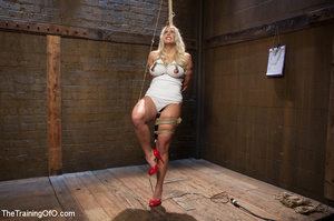 Lusty blonde tied and enslaved assaulted - Picture 4
