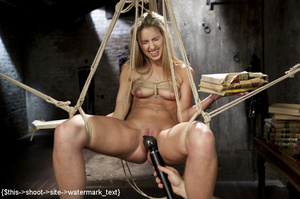 Blonde gets tied, suspended, made to squ - XXX Dessert - Picture 13