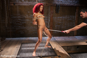 Ebony red head in pegged and roped takes - XXX Dessert - Picture 1