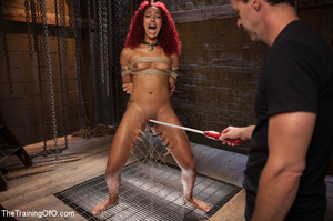 Ebony red head in pegged and roped takes - XXX Dessert - Picture 3