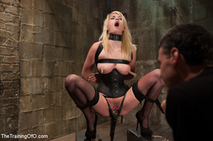 Strapped blonde in black enslaved to suc - XXX Dessert - Picture 3