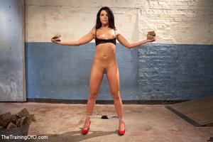 Hot bound brunette made to strip, gets a - XXX Dessert - Picture 4