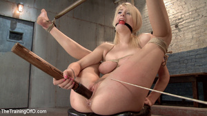 Young roped blonde slave fucks long dild - XXX Dessert - Picture 4