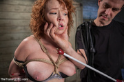 horny chick strapped wood