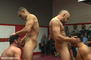 Four nude male studs wrestle before audi - Picture 7