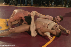 People watch as four hot studs wrestle a - XXX Dessert - Picture 3