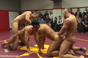 Four nude male studs wrestle before audi - Picture 9