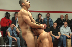 Four nude male studs wrestle before audi - Picture 10