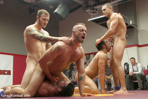 Four nude male studs wrestle before audi - Picture 11