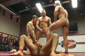 Four nude male studs wrestle before audi - Picture 13