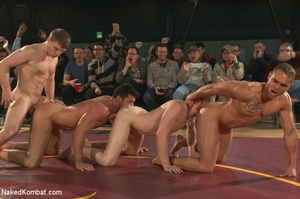 People watch as four hot studs wrestle a - XXX Dessert - Picture 9