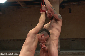 Tattooed guy battles with friend as they - XXX Dessert - Picture 14