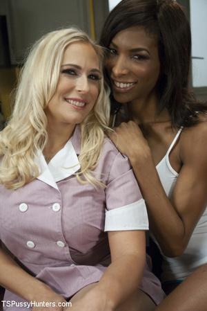 Blonde sucks black tranny's cock and she - XXX Dessert - Picture 1