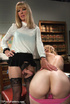 Two chicks strip in office for cock sucking before shemale buries cock