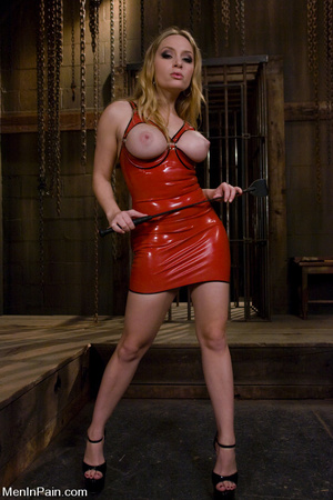 Blonde mom with big boobs in red latex d - XXX Dessert - Picture 1