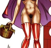 Little Red Riding Hood in high boots came to a masked dude to have an