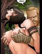 Horny hunter in a beard seized a brunette beauty for fucking in the forest