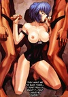 Blue-haired manga vixen in a black dress serving orally two dudes at once