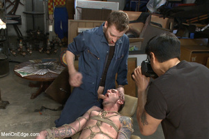 Tattooed guy strapped down to get his co - XXX Dessert - Picture 6
