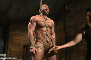 Muscled guy tied gets to suck cock as he - XXX Dessert - Picture 5