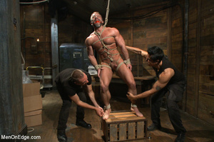 Muscled guy tied gets to suck cock as he - XXX Dessert - Picture 8