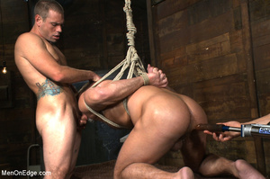 Muscled guy tied gets to suck cock as he - XXX Dessert - Picture 13