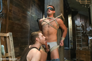 Blindfolded guy hung with ropes gets his - XXX Dessert - Picture 3