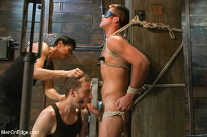 Blindfolded guy hung with ropes gets his - XXX Dessert - Picture 7