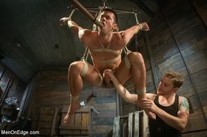 Blindfolded guy hung with ropes gets his - XXX Dessert - Picture 11