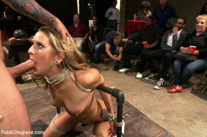 Blonde gets caned, roped and clipped pub - XXX Dessert - Picture 1