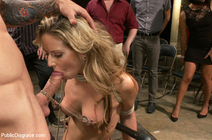 Blonde gets caned, roped and clipped pub - XXX Dessert - Picture 2