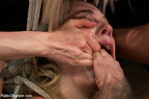 Blonde gets roped as she sucks cock and  - XXX Dessert - Picture 4