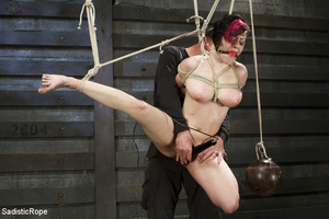 Guy ties cute chick to wooden cross, cli - XXX Dessert - Picture 1