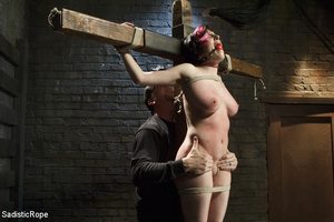Guy ties cute chick to wooden cross, cli - XXX Dessert - Picture 3