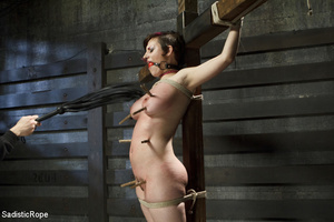 Guy ties cute chick to wooden cross, cli - XXX Dessert - Picture 4