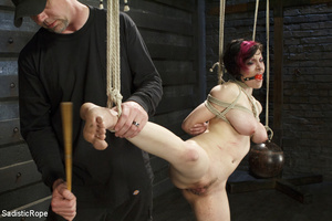 Guy ties cute chick to wooden cross, cli - XXX Dessert - Picture 8