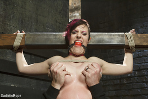 Guy ties cute chick to wooden cross, cli - XXX Dessert - Picture 14