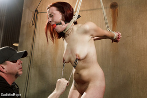 Guy in cap ties chick with rope, chokes  - XXX Dessert - Picture 1