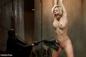 Guy in black ties blonde with rope, susp - XXX Dessert - Picture 5