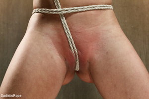 Guy in black ties blonde with rope, susp - XXX Dessert - Picture 6