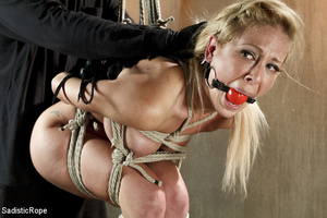 Guy in black ties blonde with rope, susp - XXX Dessert - Picture 7