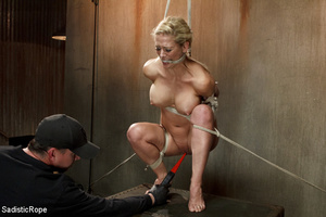 Guy in black ties blonde with rope, susp - XXX Dessert - Picture 9